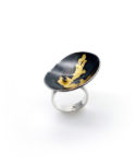 sterling silver oxidized cup ring with 24k gold leaf