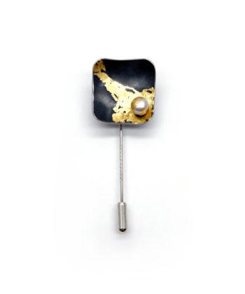 broche écharpe argent sterling avec feuille d'or 24 carats