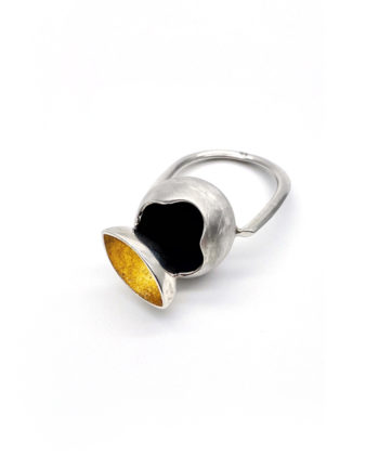sterling silver ring with 24k gold foil